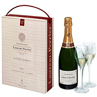 Brilliant Laurent-Perrier Champagne With Two Glasses of Champagne in a Gift Box<br>
