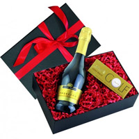 Pretty Arrangement of 3 Golf Ball Chocolate Box N Noble Prosecco Wine Bottle from Veneto