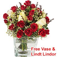 Colorful Roses Display in a Vase<br>