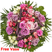 Designed Premium Bouquet of Sommernachtstraum with vase