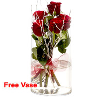 Dreamy Vase of Red Roses
