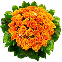 Romantic Bouquet of 12 Orange Roses in a Vase