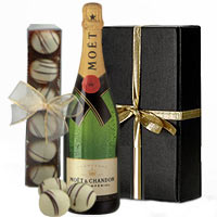 Luscious Moet and Chandon Champagne with Truffle Chocolates