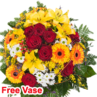 Color-Coordinated Brasilia Bouquet with Free Vase