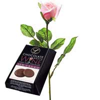 Single Pink Rose with Chocolate Box