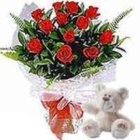 12 Red Roses Bouquet with Beige coloured Bear from Nici