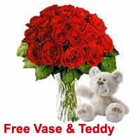 Red Roses and Teddy Delivery on Same Day